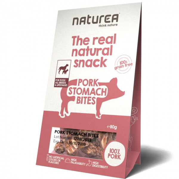 Naturea The real natural snack Pork Stomach Bites Hunde Snack
