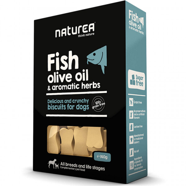 Naturea Biscuits Fish, Olive Oil & Herbs Hunde Snack 2x 140 g