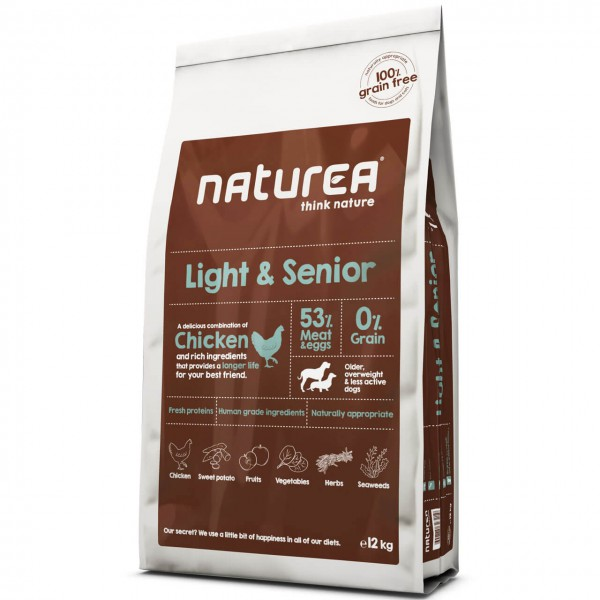Naturea Grain Free Light & Senior Chicken Hunde Trockenfutter 2x 12 kg