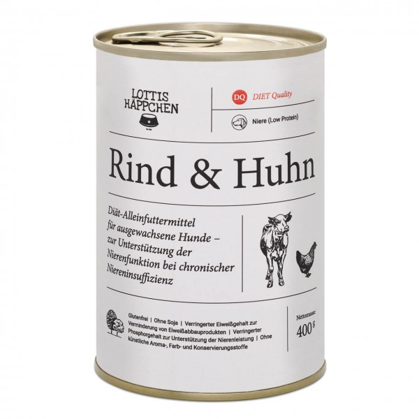 Lottis Häppchen Niere (Low Protein) / Rind & Huhn Hunde Nassfutter 6x 400  g
