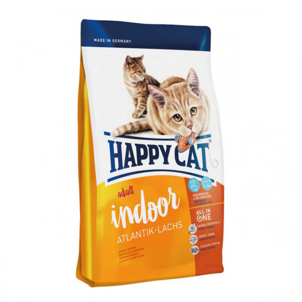 Happy Cat Adult Indoor Atlantik-Lachs Katzen Trockenfutter 2x 4 kg