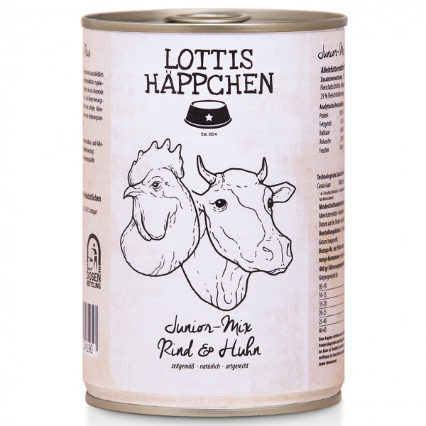 Lottis Häppchen Junior Mix Rind & Huhn Hunde Nassfutter