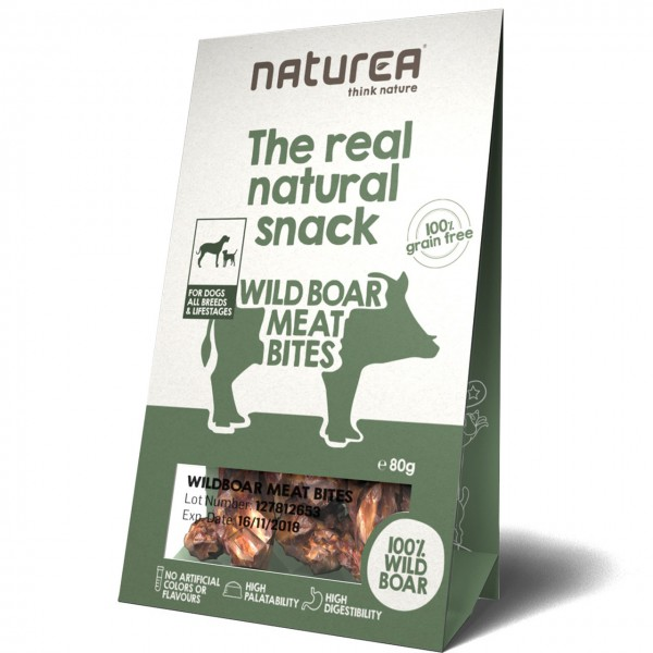 Naturea The real natural snack Wild Boar Meat Bites Hunde Snack