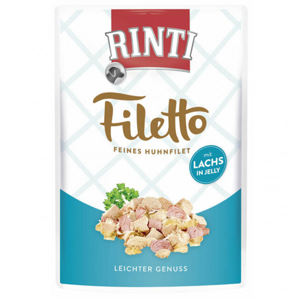 Rinti Filetto Feines Huhnfilet mit Lachs in Jelly Multipack Hunde Nassfutter