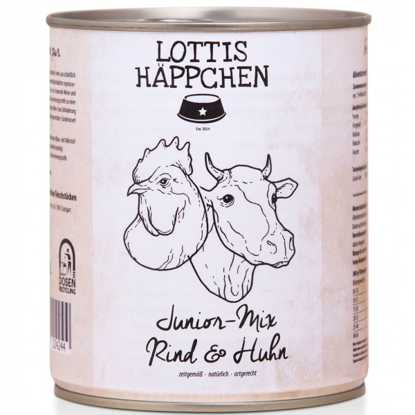 Lottis Häppchen Junior Mix Rind & Huhn Hunde Nassfutter 6x 800 g