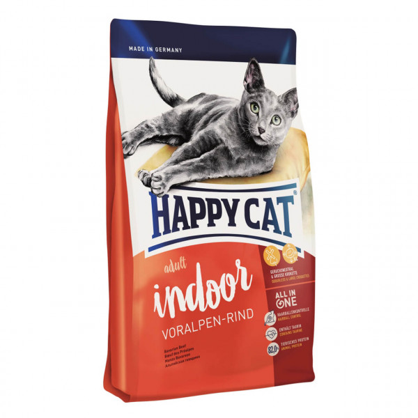 Happy Cat Adult Indoor Voralpen-Rind Katzen Trockenfutter 2x 4 kg