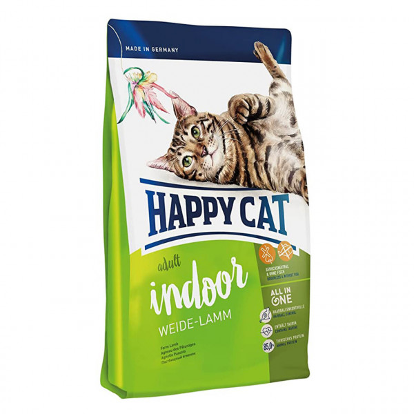 Happy Cat Adult Indoor Weide-Lamm Katzen Trockenfutter 2x 4 kg